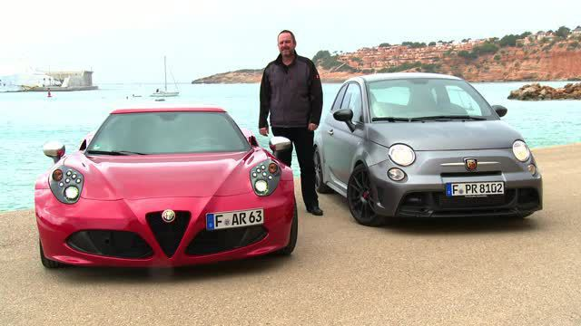 abarth 695 biposto vs alfa romeo 4c video. Black Bedroom Furniture Sets. Home Design Ideas