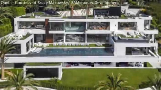Die XXL-Traumvilla besteht aus 12 Schlafzimmern, 21 Badezimmern, einem Infinity Pool , zwei Wein-Champagner Kellern, einem Spa und Fitness-Center. (Screenshot: Bit Projects)
